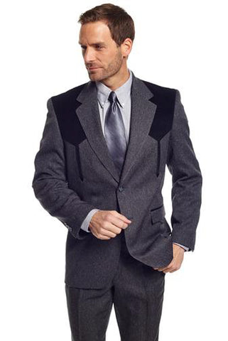 Circle S Mens Charcoal Polyester Boise Sportcoat Western