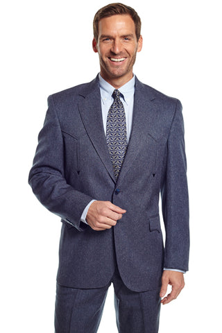 Circle S Mens Heather Navy Polyester Vegas Sportcoat Western