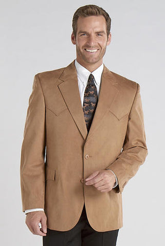 Circle S Mens Camel 100% Microsuede Houston Western Jacket Blazer