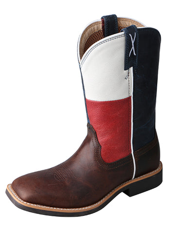 Twisted X Youth Unisex Chocolate Leather TX Flag Cowkid Work Cowboy Boots