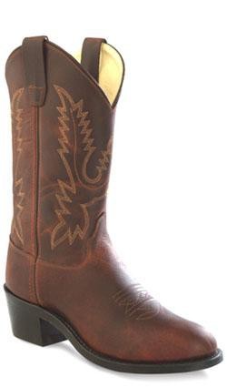 Old West Brown Youth Girls Oiled Corona Leather Round Toe Cowboy Boots