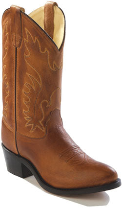 Old West Tan Canyon Youth Girls Corona Leather Narrow J Toe Cowboy Boots