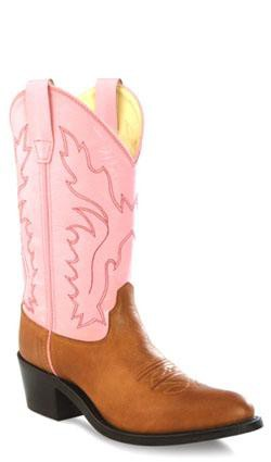 Old West Pink Youth Girls Corona Calf Leather Narrow J Toe Cowboy Boots