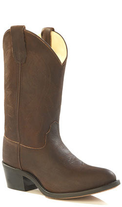 Old West Brown Youth Girls Corona Leather Narrow J Toe Cowboy Boots