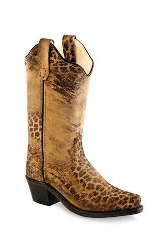 Old West Tan Kids Girls Leather 8in Leopard Cowboy Boots