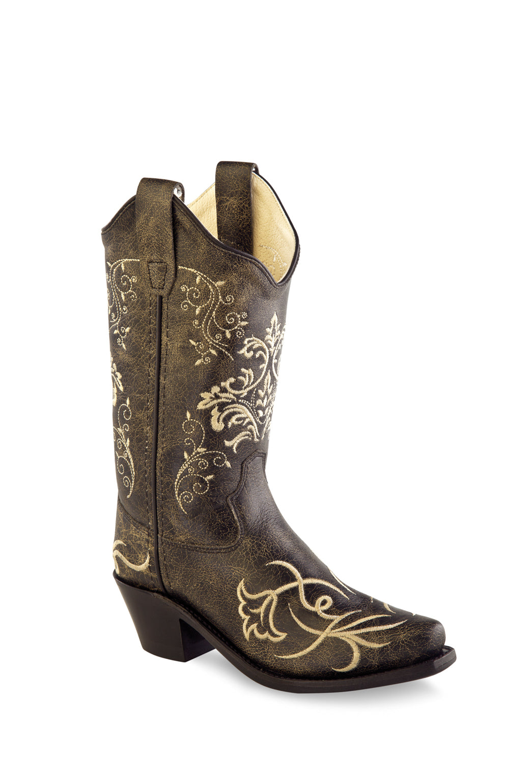 d0c49e007a7 Old West Brown Kids Girls Leather 8in Floral Cowboy Boots