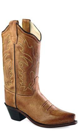 Old West Tan Canyon Childrens Girls Leather 8in Snip Toe Cowboy Boots 2 D