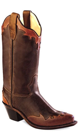 Old West Brown Childrens Girls Leather Wingtip Snip Toe Cowboy Boots
