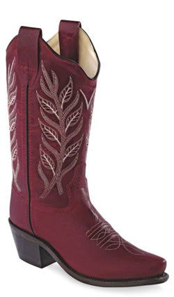 Old West Red Childrens Boys Leather Snip Toe 8in Cowboy Boots