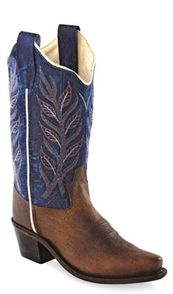 Old West Blue Childrens Kids Oily Leather Snip Toe 8in Cowboy Boots