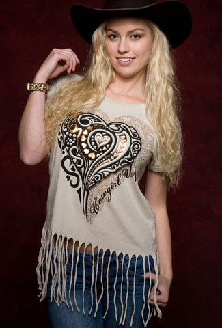 Cowgirl Up Womens Tan Cotton S/S Fringe Heart Graphic Tee T-Shirt