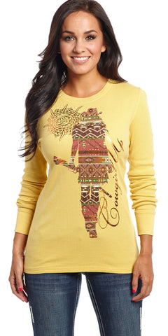 Cowgirl Up Womens Yellow Cotton L/S Tshirt Southwestern