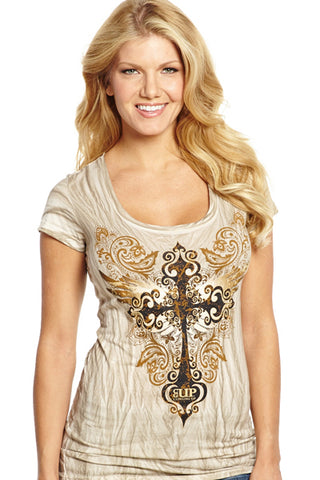 64103694c8a037 Cowgirl Up Womens Beige Cotton S S T-Shirt Washed Iron Cross – The ...