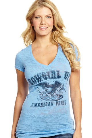 Cowgirl Up Womens Blue Cotton S/S T-Shirt Burnout American Pride