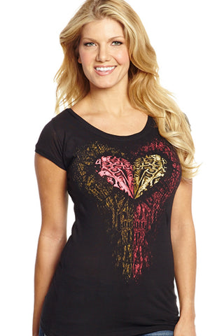 Cowgirl Up Womens Black Cotton S/S T-Shirt Leopard Heart Scoop Tee