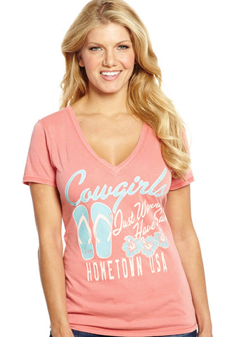 Cowgirl Up Womens Pink Cotton S/S T-Shirt Vintage Surf Tee