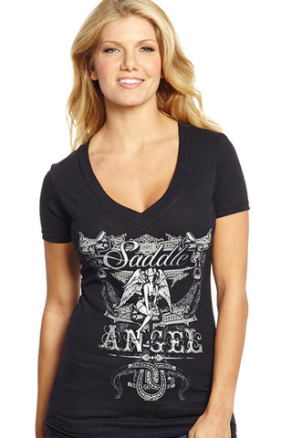Cowgirl Up Womens Black Cotton S/S T-Shirt Saddle Angel V-Neck