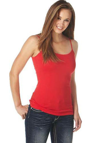 Cowgirl Up Womens Red Cotton Blend Cami Tank Top Satin