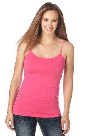 Cowgirl Up Womens Pink Cotton Blend Cami Tank Top Satin