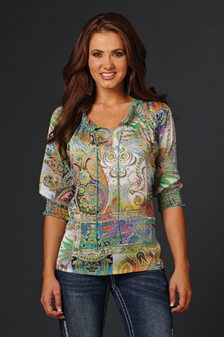 Cowgirl Up Womens Multi-Color Polyester Abstract 3/4 Sleeve Peasant Blouse