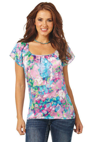 Cowgirl Up Womens Multi-Color Polyester Scoop Neck S/S Satin Short Wing Top