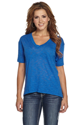 Cowgirl Up Womens Blue Cotton Blend Tunic Drapey Tee T-Shirt V-Neck