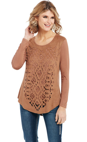 Cowgirl Up Womens Brown Rayon Laser Cut Microsuede Tunic L/S