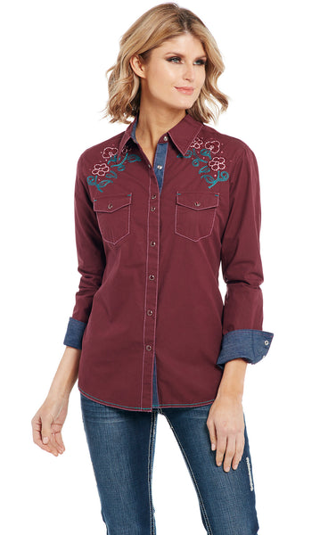 Floral Corduroy Pearl Snap Western Shirt Cowgirl Blouse