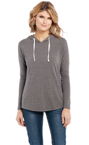 Cowgirl Up Womens Gray Rayon Lace Back Panel Hoodie