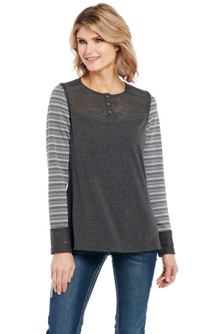 Cowgirl Up Womens Gray Rayon Mixed Media Henley Shirt L/S