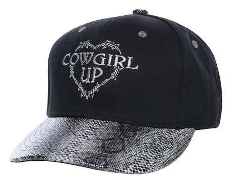 Cowgirl Up Womens Black Cotton Faux Snakeskin Barbed Wire Heart Ball Cap