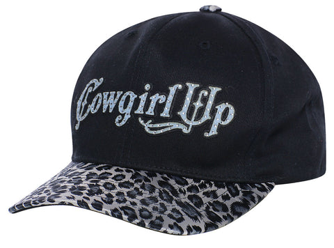 Cowgirl Up Womens Black Cotton Faux Leopard Bill Logo Script Ball Cap