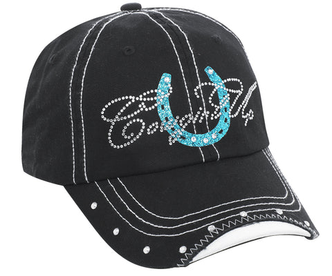 Cowgirl Up Womens Black Cotton Baseball Cap Crystal Horseshoe