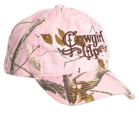 Cowgirl Up Womens Pink Cotton Baseball Cap Camo Embroidered
