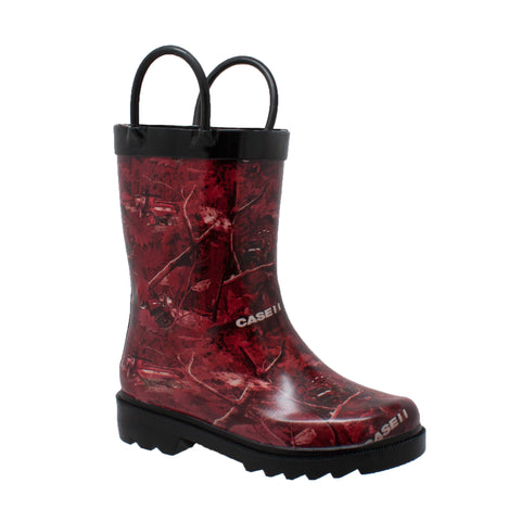 Case IH Kids Boys Red Camo Rubber Work Boots