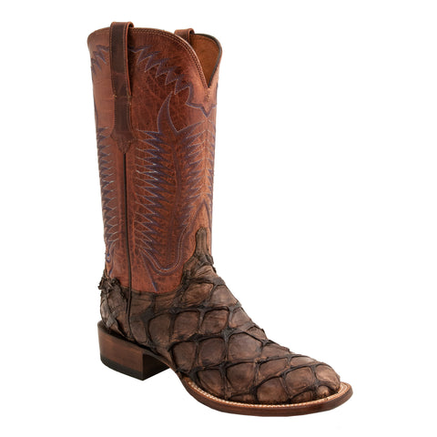 Lucchese Mens Cowboy Boots Cafe Brown Pirarucu