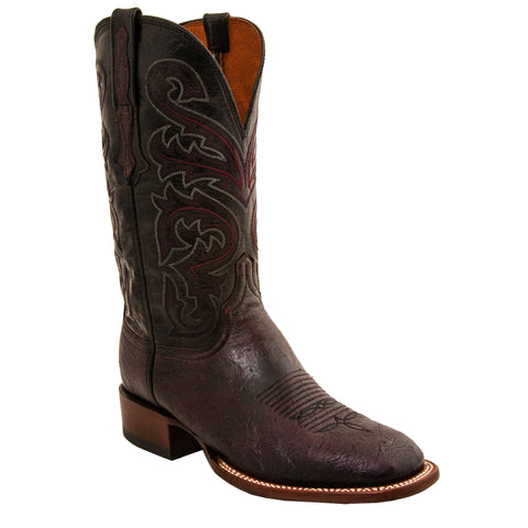 Lucchese Mens Cowboy Boots Black Cherry Smooth Ostrich
