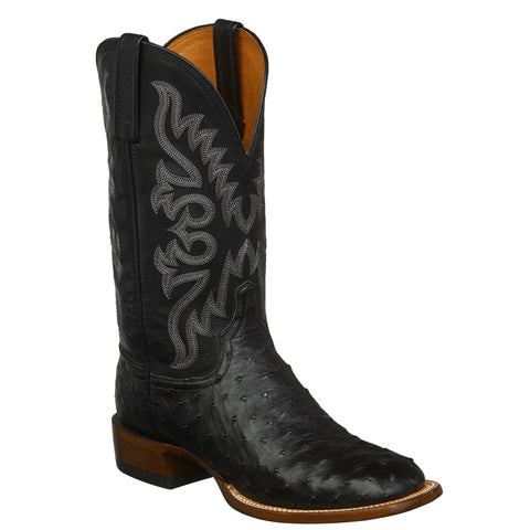 Lucchese Mens Cowboy Boots Black Full Quill Ostrich
