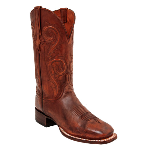 Lucchese Mens Cowboy Boots Antique Whiskey Cowhide Leather