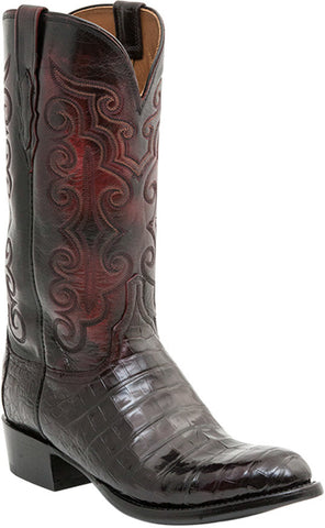 Lucchese Mens Cowboy Boots Black Cherry Ultra Belly Caiman