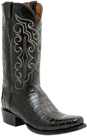 Lucchese Mens Cowboy Boots Black Ultra Belly Caiman