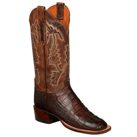 Lucchese Womens Cowboy Boots Barrel Brown Ultra Belly Caiman