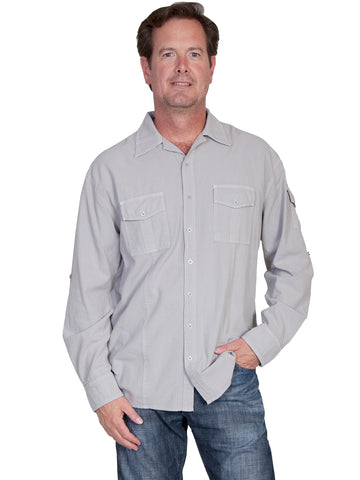Scully Cantina Mens Grey 100% Cotton Casual Sport Shirt