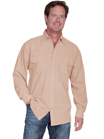 Scully Cantina Mens Sand 100% Cotton Western Casual Shirt