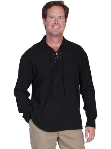 Scully Cantina Mens Black 100% Cotton Laceup Pullover Shirt