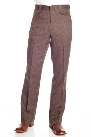 Circle S Mens Heather Chestnut Polyester Western Unhemmed Ranch Dress Pant 34