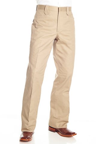 Circle S Mens Khaki 100% Cotton Unhemmed Snap Ranch Dress Pant