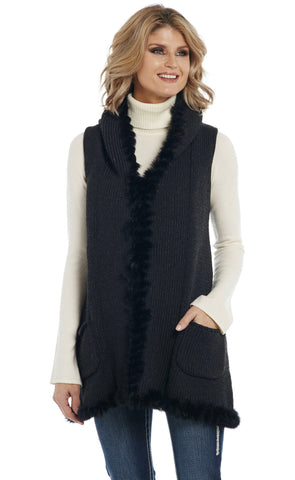 Cripple Creek Womens Heather Black Cotton Blend Rabbit Hood Vest