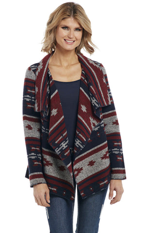 Cripple Creek Womens Navy Multi Polyester Navajo Wrap Jacket