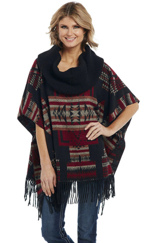 Cripple Creek Womens Black Multi Polyester Navajo Poncho Jacket